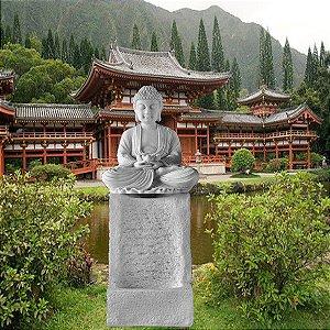 Fonte para Jardim Buda Pilar Marmorite 90cm 110V