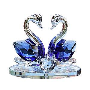 Par de Cisnes De Cristal Cor Azul Safira 8x6cm