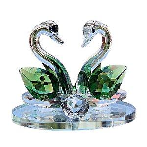 Par de Cisnes De Cristal Cor Quartzo Verde 8x6cm