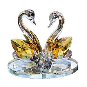 Par de Cisnes De Cristal Cor Safira Amarela 8x6cm