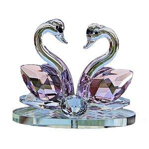 Par de Cisnes De Cristal Cor Quartzo Rosa 8x6cm