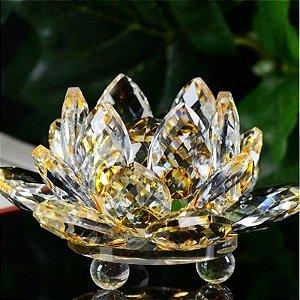 Mini Flor de Lótus de Cristal Cor Safira Amarela 6cm