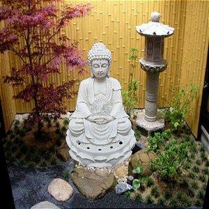 Fonte Buda Zen Lótus Marmorite 32 cm 220V