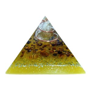 Orgonite Pirâmide Amarela - Prosperidade | 6x5 cm