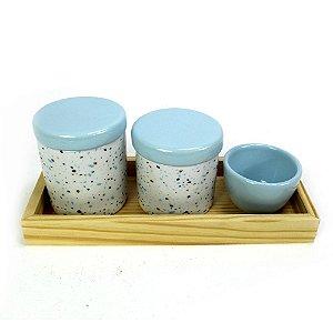 Kit Higiene Granilite Azul com Bandeja Pinus
