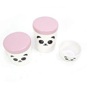 Kit Higiene Panda Rosa sem Bandeja - 03 Peças