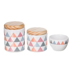 Kit Higiene Triângulo Rosa com Tampa Pinus