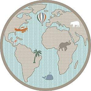 Tapete PVC Mapa Mundi Verde Safari Redondo