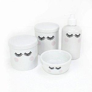 Kit Higiene 4 Peças Branco Olhinhos sem Bandeja - 04 Peças