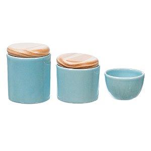 Kit Higiene Azul Bebê com Tampa Pinus sem Bandeja - 03 Peças