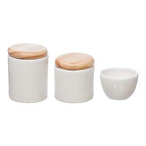 Kit Higiene Branco com Tampa Pinus sem Bandeja - 03 Peças