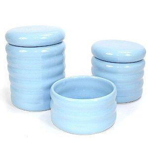 Kit Higiene Ondulado Azul Bebê sem Bandeja - 03 Peças