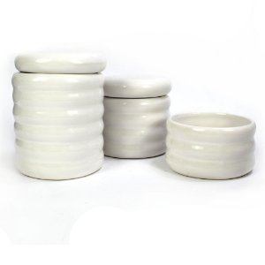 Kit Higiene Ondulado Branco sem Bandeja - 03 Peças