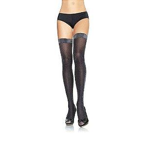 Meia sensual 7/8 brilho lurex preta - LEG AVENUE