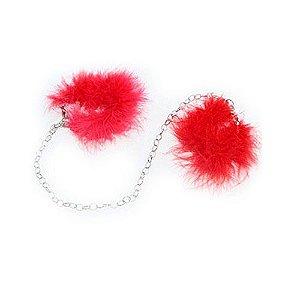 Tornozeleira erótica com marabú vermelho - ATELIE BE & CI PP