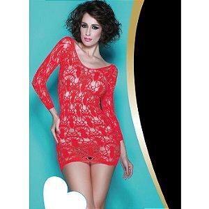 Vestido Vermelho com Mangas Longas - Yaffa