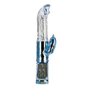 Vibrador rotativo com estimulador clitoriano