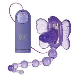 Estimulador clitoriano borboleta com pênis e bolinhas anais