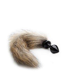 Plug Anal Preto com Rabo de Raposa - Fox Tail Buttplug Ouch