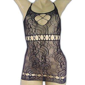 Mini Vestido Rendado com Detalhe Trançado - Yaffa Lingerie
