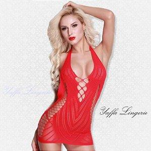 Mini Vestido Frente Ùnica Vermelho Aberturas Laterais Yaffa
