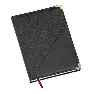 LG110 Agenda diária capa de couro sintético Preta Croco diagonal