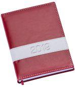 LG136 Agenda diária capa de couro sintético vermelha com faixa horizontal