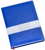 LG137 Agenda diária capa de couro sintético azul royal com faixa horizontal