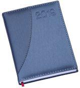 LG161 Agenda Diária com capa em couro sintético azul com detalhe em azul