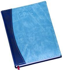 LG172 Agenda Diária capa em couro sintético azul claro com azul escuro