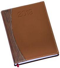 LG174 Agenda Diária capa em couro sintético marrom e madeira
