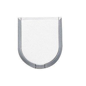 Espelho duplo plástico em formato escudo, com aumento.