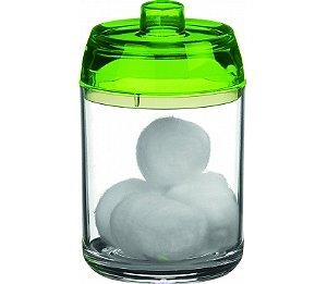 Porta Algodão - Kaballa Acrílico - Cristal / Verde