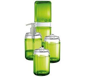 Kit Banheiro Dolce Vita 4 Peças - Kaballa Acrílico - Verde/Cristal
