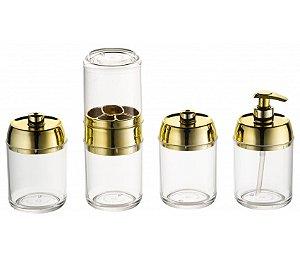 Kit Banheiro Tiffany 4 peças - Kaballa Acrílico - Cristal/Dourado