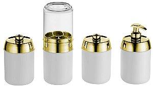 Kit Banheiro Tiffany 4 peças - Kaballa Acrílico - Branco/Dourado