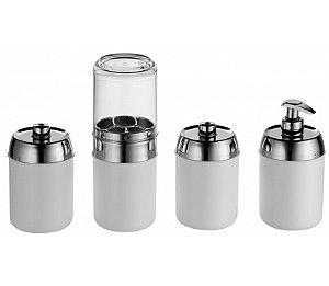 Kit Banheiro Tiffany 4 peças - Kaballa Acrílico - Branco/Prata