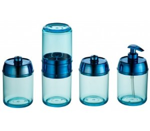 Kit Banheiro Tiffany 4 peças - Kaballa Acrílico - Azul Royal