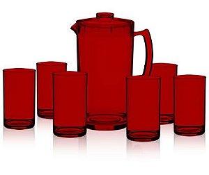 Kit Jarra 2L + 6 Copos 350ml - 100% Acrílico - Vinho Perolizado
