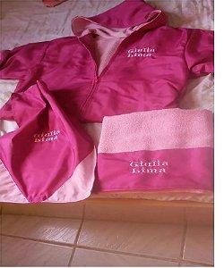 kit de roupão ,mochila e toalha tudo personalizado