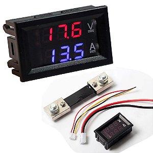 Display Voltímetro e Amperímetro 0 - 100V 50A - Com Resistor Shunt