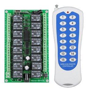 Controle Remoto RF433MHZ Com Central Receptora Relé 16 Canais 12V
