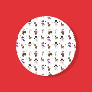 Cake Board Estampado Redondo - Stickers Natal Nº1