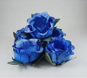 Forminha Botão de Rosa Azul Royal 50 Unidades