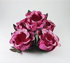 Forminha Botão de Rosa Pink Escuro 50 Unidades