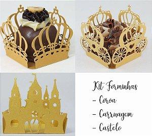 Kit 100 Unidades Forminhas  Douradas Coroa Castelo e Carruagem.