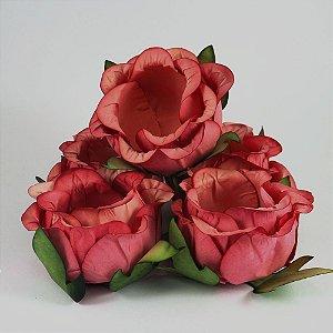 Forminha Botão de Rosa Coral 50 Unidades