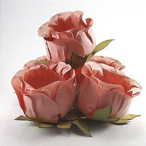 Forminha Botão de Rosa 2 Camadas Rosa Antigo 20 Unidades