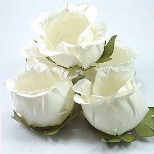 Forminha Botão de Rosa 2 Camadas Off White 20 Unidades
