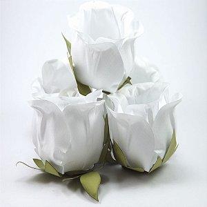 Forminha Botão de Rosa 2 Camadas Branca 20 Unidades
